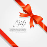 Gift. Red Wide Ribbon. Bright Bow with Two Petals Royalty Free Stock Photo