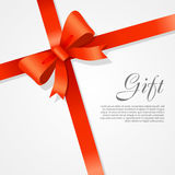 Gift. Red Wide Ribbon. Bright Bow with Two Petals Stock Photo