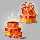 Gift red-and-yellow boxes, vector illustration Stock Photo
