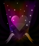 Gift revelation with hearth at glittering stars vector Stock Photos