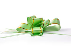 Gift ribbon. Green gross ribbon and bow Royalty Free Stock Photos