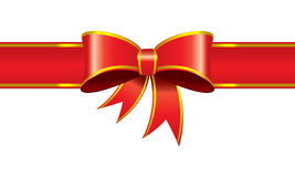 Gift ribbon banner decorated bind. Illustrated  red ribbon bind banner Stock Images