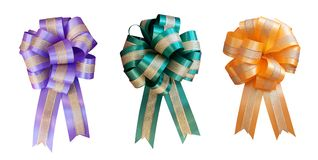 Gift ribbon bow flower shape set green orange purple color isolated on white background, clipping path royalty free stock images