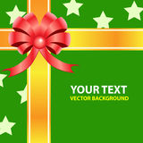 Gift ribbon bow on green background. Royalty Free Stock Photo