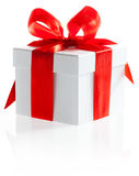 Gift with ribbon and bow on the white background Royalty Free Stock Photos