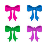 Gift ribbon bows in different colors Stock Images