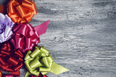 Gift ribbon bows of different colors Royalty Free Stock Photo