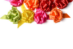 Gift ribbon bows of different colors Royalty Free Stock Images