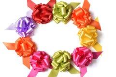 Gift ribbon bows forming a circle Royalty Free Stock Photography