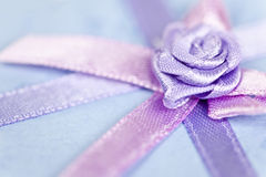 Gift ribbon on box Stock Images