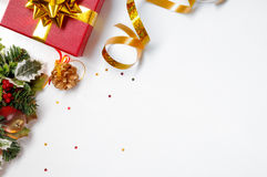 Gift ribbon and floral Christmas decoration to the left diagonal Stock Image