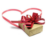 gift and ribbon heart Stock Photos