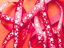 Gift ribbon with heart Stock Image