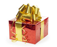 Gift with ribbon isolated over white Stock Photo