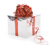Gift with ribbon isolated over white Stock Images