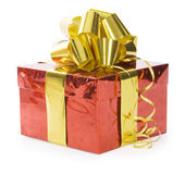 Gift with ribbon isolated over white Stock Photography