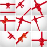 Gift Ribbon red Bow collection set. Royalty Free Stock Image
