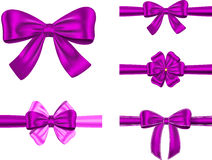 Gift ribbon set. Set of ribbons with bows for gifts, cards and decorations. Vector illustration stock illustration