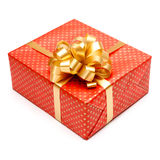 Gift with ribbon on white background Royalty Free Stock Images
