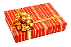 Gift with ribbon on white background Royalty Free Stock Photography