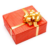 Gift with ribbon on white background Stock Image