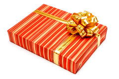 Gift with ribbon on white background Stock Photos