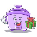 With gift rice cooker character cartoon Stock Photography