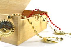 Gift rope in wooden box Stock Images