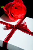 Gift with rose Royalty Free Stock Photo