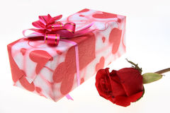Gift and rose Stock Image