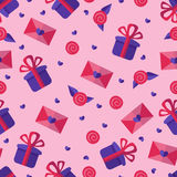 Gift, rose and love letter pink and violet pattern. Royalty Free Stock Photography