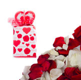Gift of rose petals. On white Royalty Free Stock Image
