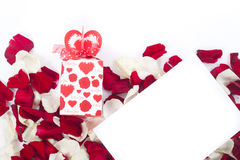Gift of rose petals. On white Stock Image