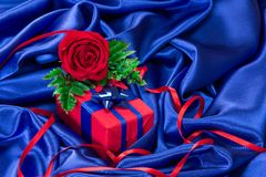 Gift with rose Stock Image