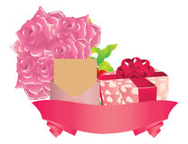 Gift and roses Royalty Free Stock Image