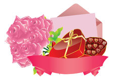 Gift and roses Royalty Free Stock Photos