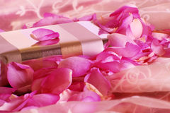 Gift with roses. Gift in a bed of roses Royalty Free Stock Photo