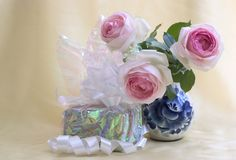 Gift with roses Royalty Free Stock Image