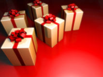 Gift's with surprise on red Stock Photography