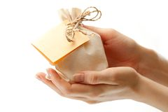 Gift sack hands Royalty Free Stock Image