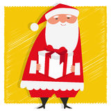 Gift from Santa. Vector illustration of Santa Claus holding a gift Royalty Free Stock Photography