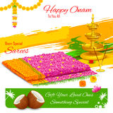 Gift of saree in Happy Onam Royalty Free Stock Photography