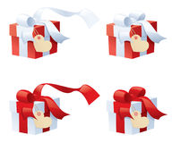 Gift Says I Love You. Little red and white gifts with separately grouped tags for your message Royalty Free Stock Photography