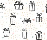 Gift seamless pattern. Color simple present box with ribbon. Hand drawing . Doodle style black ink. abstract background. Decorative elements vector illustration
