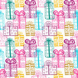 Gift seamless pattern. Seamless happy birthday colorful pattern. Texture with gift-box Stock Image