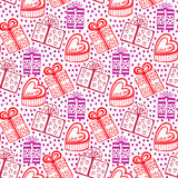 Gift seamless pattern. Seamless happy birthday, new year or valentine backdrop. Stock Photos
