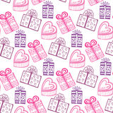 Gift seamless pattern. Seamless happy birthday or valentine  pattern. Texture with pink gift-box Stock Photo