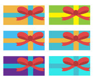 Gift set. Box gift set. Colored holiday boxes with ribbons, flat style. Vector illustration.  Stock Photo