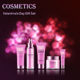 Gift set of cosmetics for face to Valentine`s Day. Gift set of cosmetics for the face on the background of the festive salute with hearts Royalty Free Stock Photo