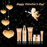 Gift set of cosmetics for face to Valentine`s Day vector illustration